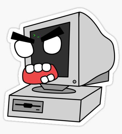 angry zombie retro PC Glossy Sticker
