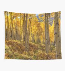 Autumn Aspen Forest Aspen Colorado Panorama Wall Tapestry