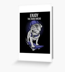 Skater Pug Greeting Card