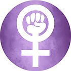 Feminist symbol with fist (white on violet background) by WesternExposure