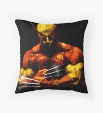 Wolverine photo manipulation artwork Throw Pillow
