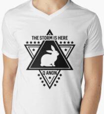 Q Anon The Storm Is Here White Rabbit Men's V-Neck T-Shirt