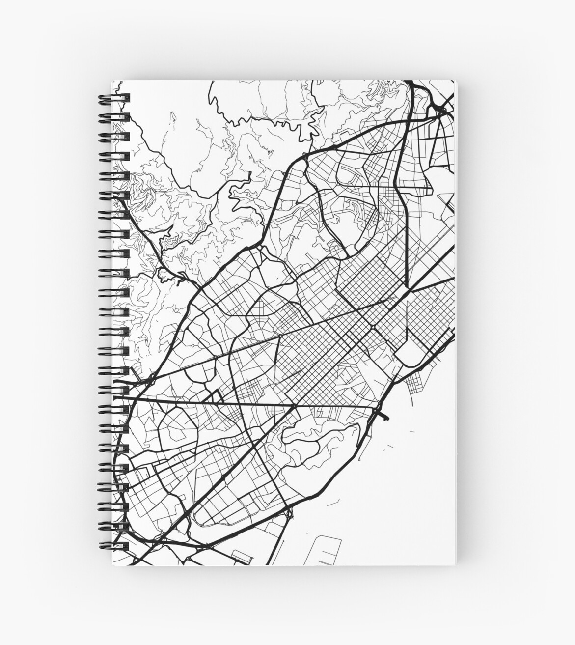 Barcelona In Spain Map.Barcelona Spain Minimalist Design Map Spiral Notebooks By