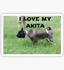 akita silver black overlay love with picture Sticker