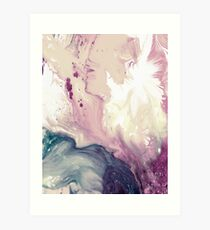 Rose Pink Turquoise Marble Painting Art Print