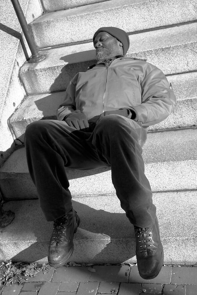 Sleeping on Steps by Cora Wandel