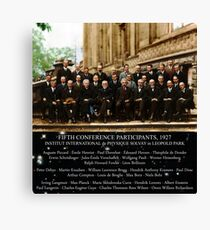 1927 Solvay Conference (spacetime bg), posters, prints Canvas Print