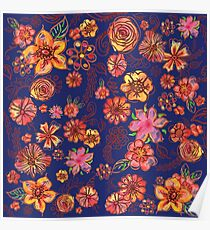 Yellow Orange Pink Flowers Watercolor Pattern on Blue Poster