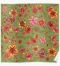 Yellow Orange Pink Flowers Watercolor Pattern on Green Poster