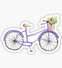 Purple Watercolor Bicycle Sticker