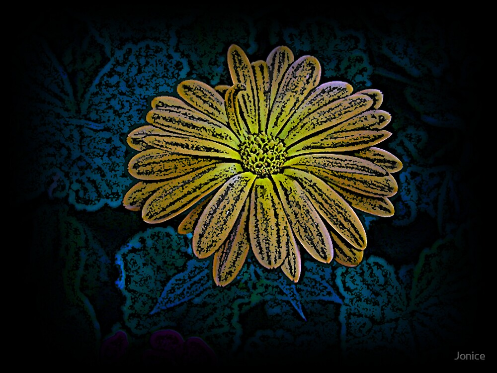 Color Engraving Of A Yellow Flower by Jonice