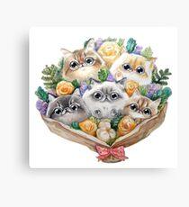 Kitty bouquet Canvas Print