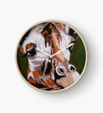 Giraffe, acrylic on canvas Clock