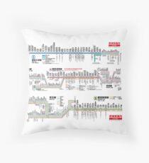 Tokyo Metro Transit Map - Cool Japan Toei Subway Mita Asakusa Shinjuku Line Tokyo 2020 Throw Pillow