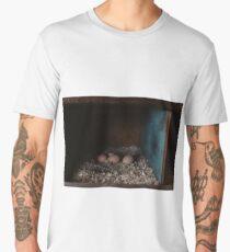 Brown chicken eggs in nest box Men's Premium T-Shirt