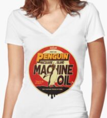The Dollop - Penguin Oil Women's Fitted V-Neck T-Shirt
