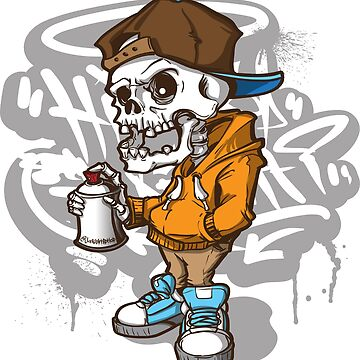Cool Skeleton Graffiti Charracter - HipHop by DesiHipHop