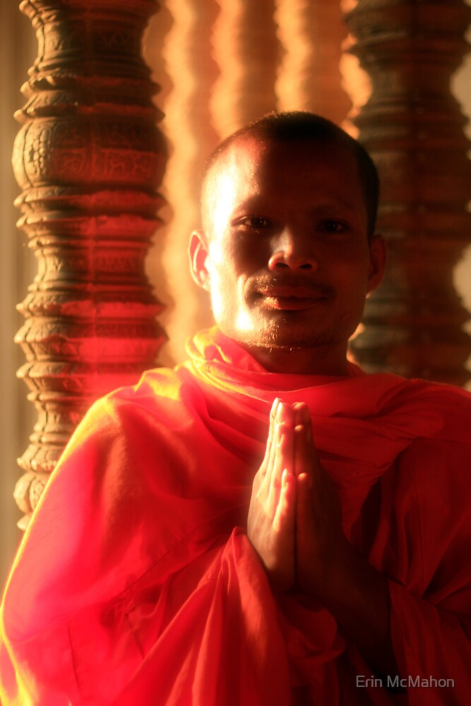 Monk - Angkor - Cambodia by Erin McMahon