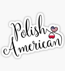 Polish American Entwined Hearts Sticker Sticker