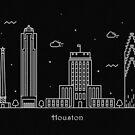 Houston Skyline Minimal Line Art Poster by A Deniz Akerman