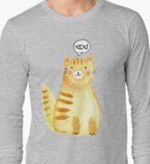 Watercolor Orange Cat  Long Sleeve T-Shirt
