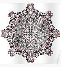 Valentine's mandala, with hearts Poster