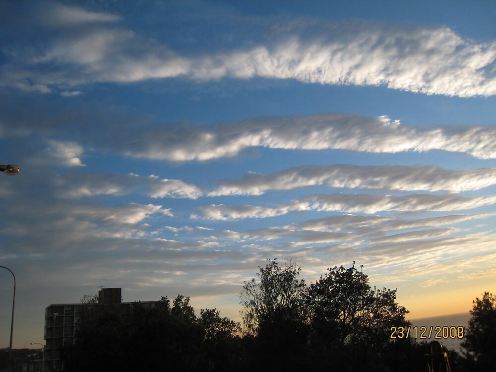 clouds reflecting bondi beach waves by Catriona Heath