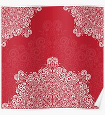 Red background with white mandala Poster