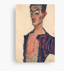 Egon Schiele - Self-Portrait, Grimacing, 1910 Canvas Print