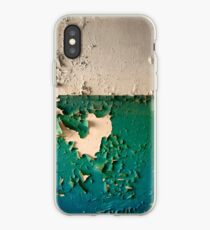 Wall with Peeling Green Blue and White Paint   iPhone Case