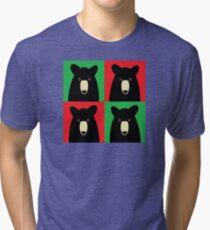 BLACK BEAR ON RED & GREEN Tri-blend T-Shirt