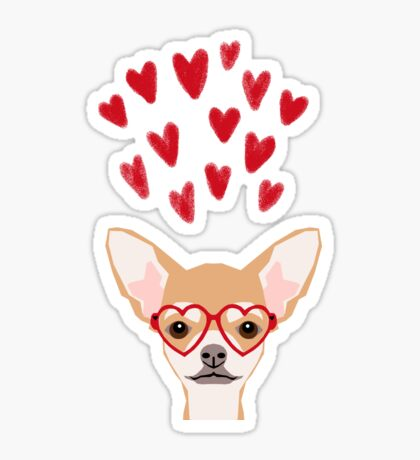 Chihuahua heart glasses dog breed valentines day cute gifts for chiwawa lovers Sticker