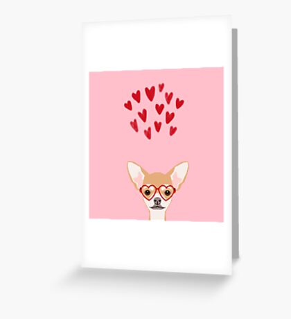Chihuahua heart glasses dog breed valentines day cute gifts for chiwawa lovers Greeting Card