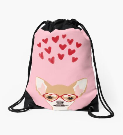 Chihuahua heart glasses dog breed valentines day cute gifts for chiwawa lovers Drawstring Bag