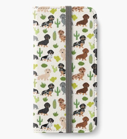 Dachshund cactus southwest dog breed gifts must have doxie dachsies  iPhone Wallet