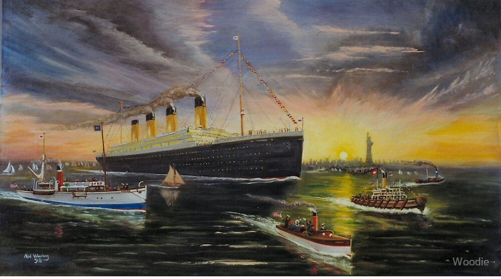 RMS Titanic entering New York Harbor 1912? by Woodie
