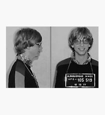 Bill Gates Mug Shot Horizontal Black And White Mugshot Photographic Print
