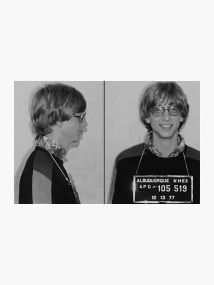 Bill Gates Mug Shot Horizontal Black And White Mugshot | Photographic Print