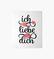German Ich Liebe Dich I Love You Floral Typography Art Board