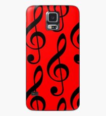 Treble Clef on Red Case/Skin for Samsung Galaxy