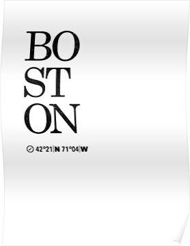 Boston Artwork Coordinates & Typography Poster