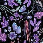 Purple flowers and jewels. by smalldrawing