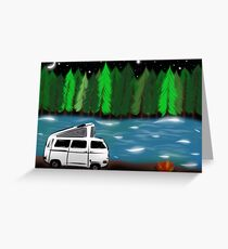 Camping Christmas Cards.Volkswagen Digital Art Greeting Cards Redbubble