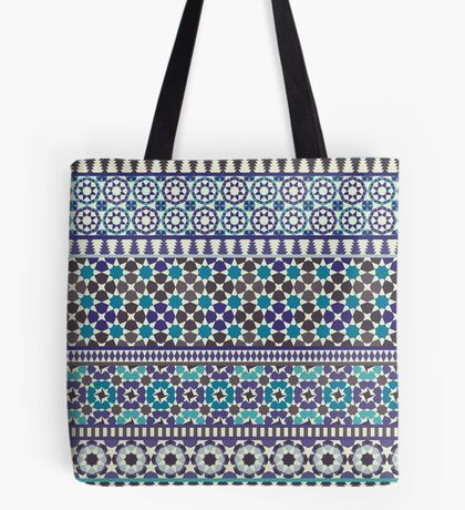 Alhambra Tessellations - Turquoise, Violet and grey on white by Cecca Designs Tote Bag