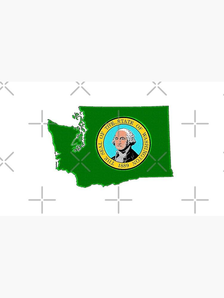 Washington Karte Mit Washington State Flag von Havocgirl