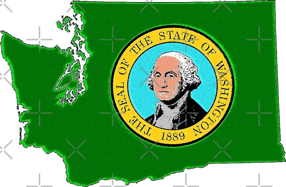 Washington Map With Washington State Flag by Havocgirl