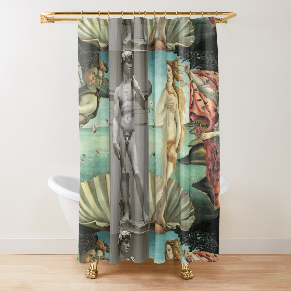 Virtual Meeting of David and Aphrodite  #Virtual #Meeting #David #Aphrodite  Shower Curtain
