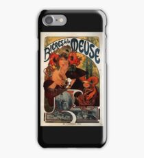 'Bieres de la Meuse' by Alphonse Mucha (Reproduction) iPhone Case/Skin