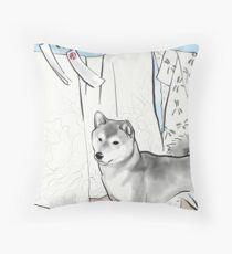 Shiba inu, Kimono and Summer breeze Throw Pillow