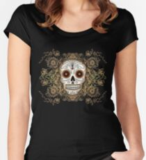 Vintage Sugar Skull Women's Fitted Scoop T-Shirt
